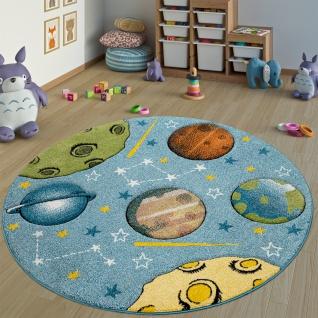 Kinderteppich Kinderzimmer Teppich Rund Kurzflor Weltraum Planeten In Blau