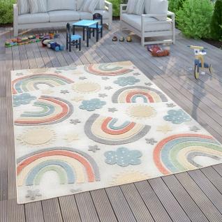 Kinderteppich Kinderzimmer Outdoorteppich Spielteppich 3D Regenbogen Motiv Beige