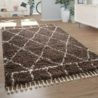 Shaggy Teppich Braun Hochflor Wohnzimmer Berber Muster Rauten Design Orient