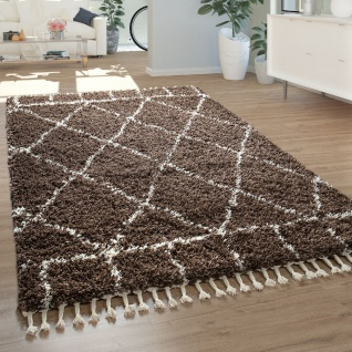 Teppich Wohnzimmer Hochflor Skandinavisches Design Rauten Geometrisch Fransen