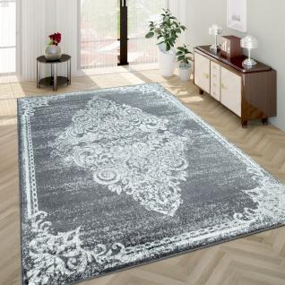 Wohnzimmer-Teppich, Kurzflor-Teppich Mit Used-Optik Barock-Stil, In Grau
