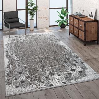 Teppich Wohnzimmer Kurzflor Modern Fransen 3D Effekt Orient Muster Beige Grau