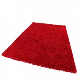 Teppich Hochflor Shaggy -Bravo- Uni Langflor Teppich Rot
