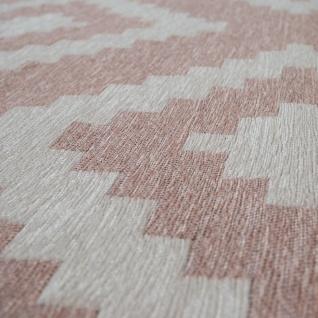 Moderner Wohnzimmer Kurzflor Teppich Skandi Design Rauten Muster In Rosa Weiß - Vorschau 3