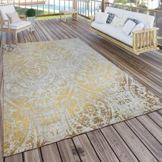 In- & Outdoor Teppich Modern Shabby Chic Stil Terrassen Teppich Wetterfest Gelb - Vorschau 1
