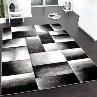 Designer Teppich Modern Trendiger Teppich Kariert Muster Grau Schwarz Meliert