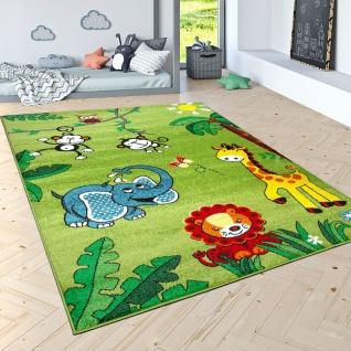 Kinderteppich Spielteppich Dschungel Tiere Palmen Affe Elefant Giraffe Löwe Grün