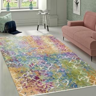 Designer Wohnzimmer Teppich Abstraktes Muster Pastellfarben Hochwertig Bunt