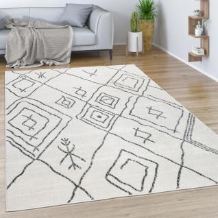 Teppich Wohnzimmer Mit Skandinavischem Boho Muster Modern Hell In Creme Grau