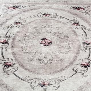 Designer Teppich Wohnzimmer Teppich Orient Bedruckt Bordüre Floral Pastell Beige - Vorschau 3
