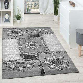 Designer Teppich Klassische Ornamente Kronleuchter Optik Grau Anthrazit Silber