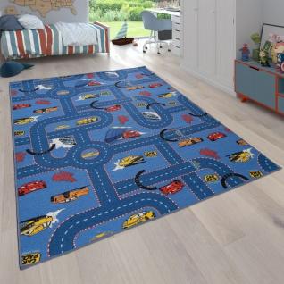 Kinder-Teppich, Teppich Mit Straßen-Design und Auto-Motiven, Wendbar, In Blau