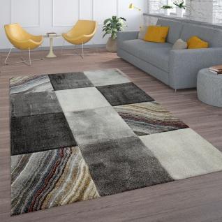 Teppich Grau Wohnzimmer Karo Design Marmor Muster Stein Optik Kurzflor Robust