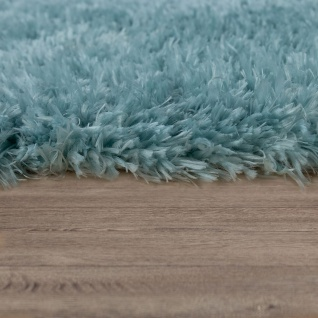 Hochflor Wohnzimmer Teppich Waschbar Shaggy Flokati Optik Einfarbig In Türkis - Vorschau 2