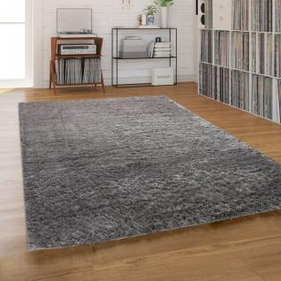 Hochflor-Teppich, Shaggy Waschbar Für Wohnzimmer Und Schlafzimmer, Einfarbig in Grau