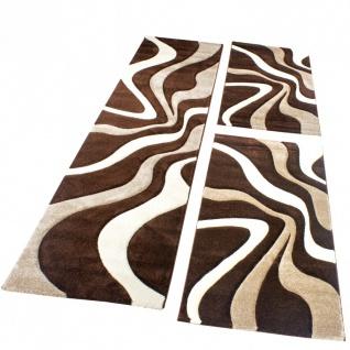 Bettumrandung Teppich Läufer Muster Modern in Braun Beige Creme Läuferset 3 Tlg