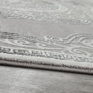 Orient Teppich Modern 3D Effekt Meliert Schimmernd Ornamente Bordüre Grau Weiß - Vorschau 2
