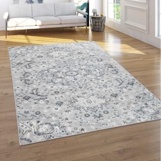 Teppich Wohnzimmer Kurzflor 3D Effekt Orientalische Ornamente In Anthrazit Grau