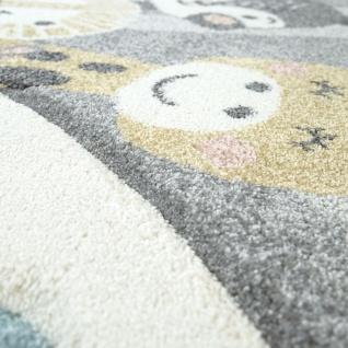 Kinderzimmer Teppich Blau Grau Heißluftballon Wolken Tiere 3-D Design Pastell - Vorschau 5