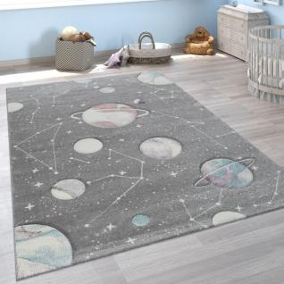 Kinder-Teppich, Spiel-Teppich Für Kinderzimmer Mit Planeten Und Sternen, In Grau