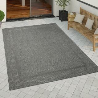 In-& Outdoor Teppich Küchenteppich Einfarbiges Design Sisal Optik Bordüre Schwarz