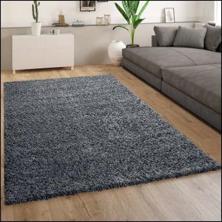 Hochflor Teppich Wohnzimmer Shaggy Langflor Modern Einfarbiges Muster Hellblau
