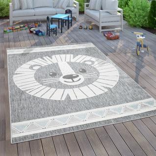 Kinderteppich Kinderzimmer Outdoorteppich Spielteppich 3D Effekt Löwe Grau