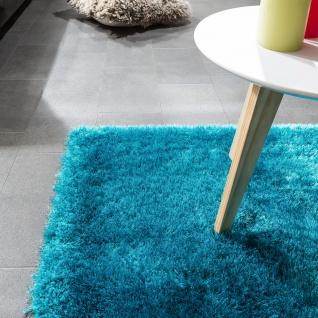 Edler Teppich Shaggy Hochflor Einfarbig Flauschig Glänzend In Türkis - Vorschau 3