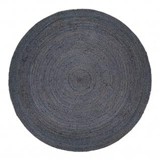 Teppich Rund Wohnzimmer Jute Boho Ethno Handgefertigter Natur-Teppich Grau - Vorschau 5