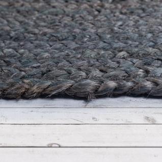 Teppich Rund Wohnzimmer Jute Boho Ethno Handgefertigter Natur-Teppich Grau - Vorschau 2