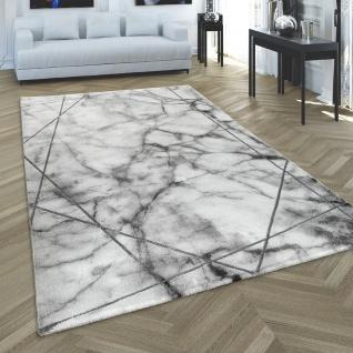 Teppich Wohnzimmer Kurzflor Modernes Abstraktes Muster Marmor Optik Grau Silber