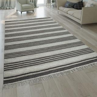 Natur Teppich Wolle Modern Handgewebt Gestreift Kelim Design Fransen Creme Braun