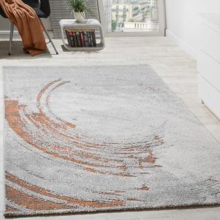 Edler Designer Teppich Hochtief-Effekt Relief Orange Grau Meliert AUSVERKAUF