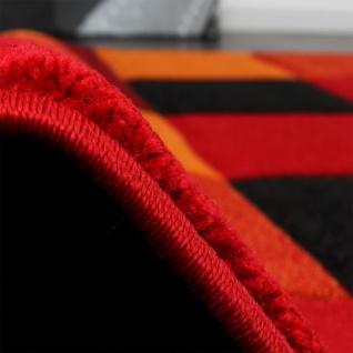 Designer Teppich Kariert Modern Handgearbeiteter Konturenschnitt Rot Schwarz - Vorschau 2