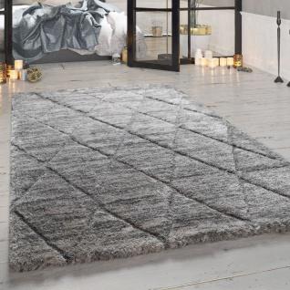 Hochflor-Teppich, Weicher Shaggy Für Wohnzimmer Mit Rauten-Muster, In Grau