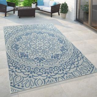 In- & Outdoor-Teppich, Für Balkon Und Terrasse Mit Orient-Design, In Blau