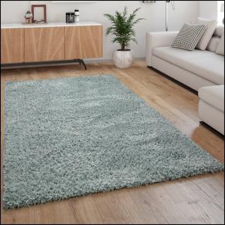 Hochflor Teppich Wohnzimmer Shaggy Langflor Weich Modern Einfarbiges Muster Türkis