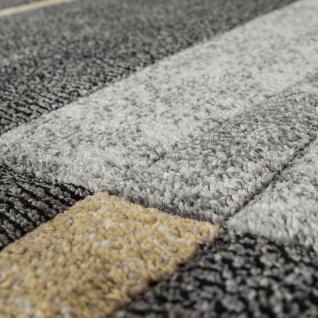 Moderner Kurzflor Teppich Wohnzimmer Design Mehrfarbig Kariert Akzente Gelb - Vorschau 3
