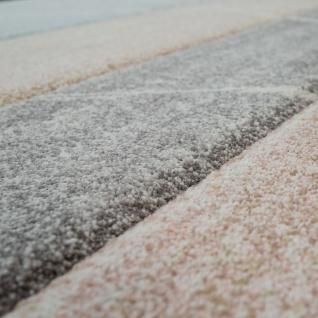 Skandi Teppich Wohnzimmer Blau Apricot Rauten Muster Pastell 3-D Design Kurzflor - Vorschau 3