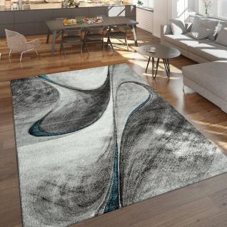 Moderner Kurzflor Teppich Wohnzimmer Meliert Abstraktes Design Grau Blau Schwarz
