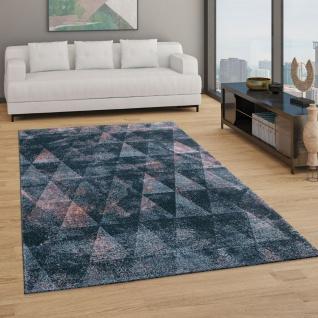Teppich Wohnzimmer Kurzflor Boho Vintage Design Rauten Muster, In Grau Rosa