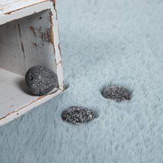 Hochflor Teppich Für Wohnzimmer Softes Kaninchenfell Imitat Kunstfell In Türkis - Vorschau 3