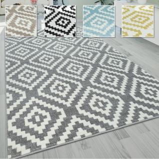 Wohnzimmer Teppich, Rauten Muster in Pastell Farben, Moderner Boho Ethno Look