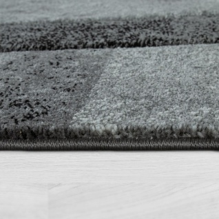 Teppich Grau Anthrazit Wohnzimmer Kurzflor 3-D Effekt Marmor Design Karo Muster - Vorschau 2