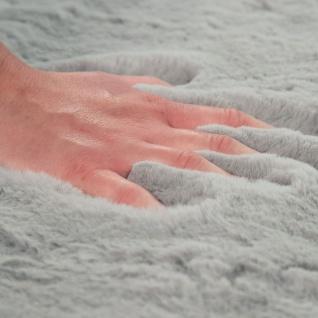 Teppich Wohnzimmer Kunstfell Plüsch Hochflor Shaggy Super Soft Waschbar In Grau - Vorschau 4