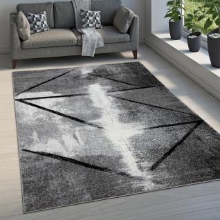 Teppich Wohnzimmer Vintage Kurzflor Abstraktes Muster Geometrisch Grau Schwarz