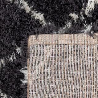 Hochflor Teppich Wohnzimmer Shaggy Skandi Rauten Muster Weich Flauschig Grau - Vorschau 4