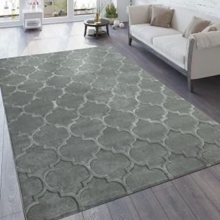 Designer Teppich Wohnzimmer 3D Effekt Marokkanisches Muster In Grau