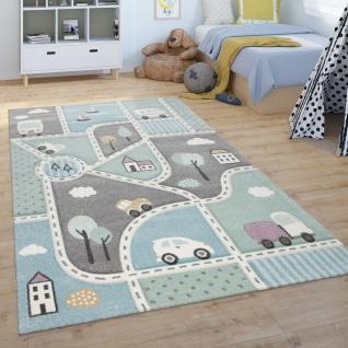 Kinder-Teppich, Spiel-Teppich Für Kinderzimmer, Mit Straßen-Motiv, Grün Blau