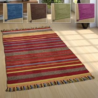 Wohnzimmer Natur Teppich m. Fransen, Moderner Handgewebter Kelim, 100% Baumwolle